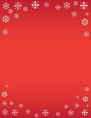 겨울 눈송이 휴일 배경 레드