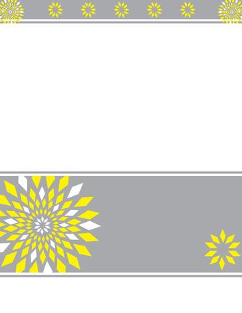 노란 회색 꽃 테두리