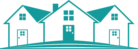 부동산 집 아이콘 흰색 배경에 파란색 녹색 템플릿 디자인.