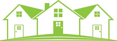흰색 배경에 부동산 집 아이콘 녹색 템플릿 디자인.