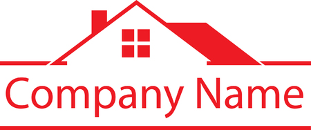 부동산 하우스 로고 빨간색 템플릿