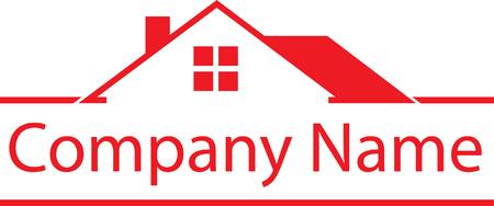 Immobilien Haus Logo Red Template Standard-Bild - 88209362