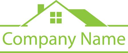 부동산 하우스 로고 녹색 템플릿