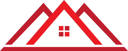 Real estate template in red. Illustration