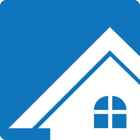 Blue House Real Estate Logo Button Illustration