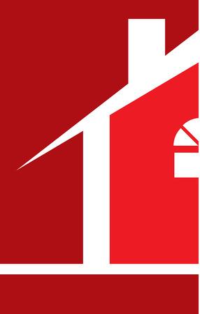 Real Estate House Logo Red Illusztráció