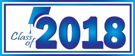 青で 2018年卒業のクラスとホワイトのデザイン テンプレート。