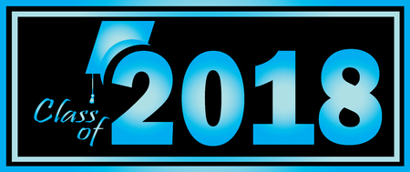 Class of 2018 Graduation Blue and Black design template.