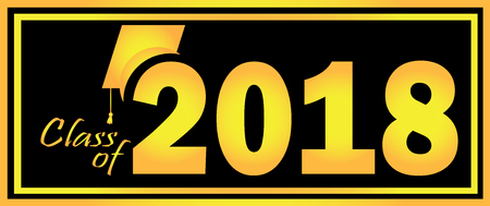 Class of 2018 Graduation Gold and Black design template.