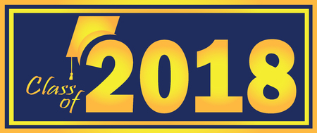 Class of 2018 Graduation Blue and Gold design template.