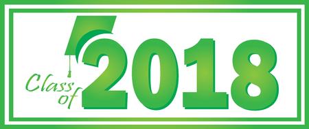 2018 のクラス卒業グリーン デザイン テンプレート。