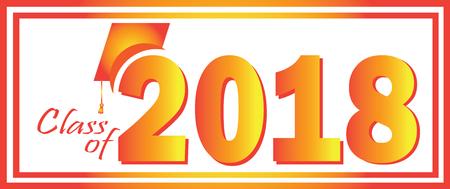 2018 のクラス卒業オレンジ デザイン テンプレート。  イラスト・ベクター素材