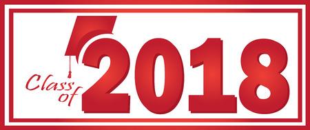 2018 のクラス卒業赤デザイン テンプレート。