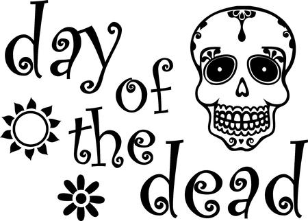 Day of the Dead Grafica in bianco e nero Archivio Fotografico - 88031399