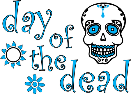 Colorful Day of the Dead Graphic Illustration