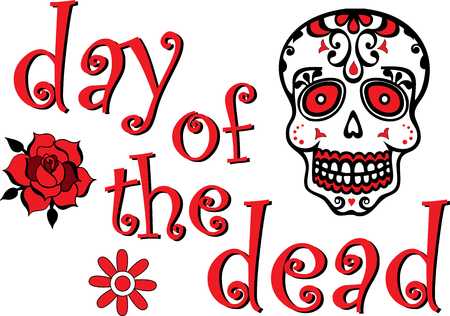 Day of the Dead Red and Black Skull Graphic