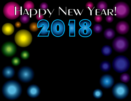 Happy New Year 2018 on black background,  vector illustration.