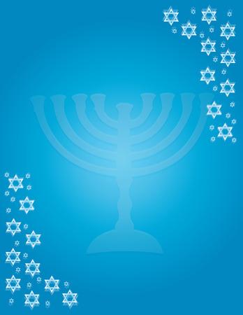 Blue Hanukkah background with menorah