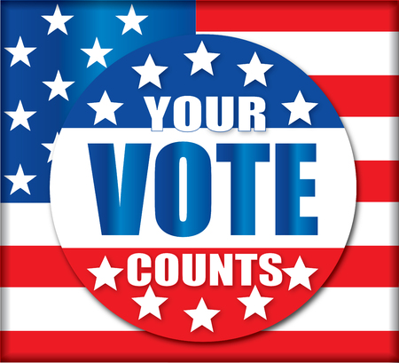 Your Vote Counts Election Banner Button Background Ilustracja