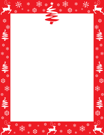 Red Christmas border with reindeer, trees and snowflakes.