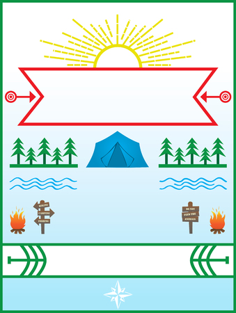 Summer Camp or Camping Poster with Border