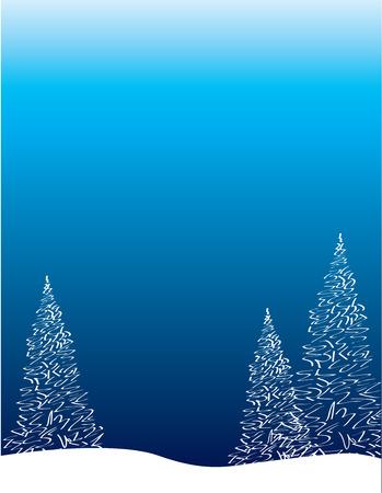 Winter Treescape Poster Background Illustration
