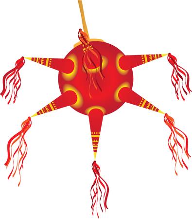 Christmas Piñata for Las Posadas Vector illustration.