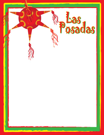 Las Posadas Template for Poster or Flyer with Pinata Illustration