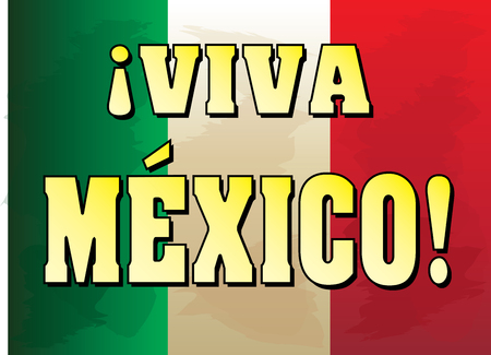 Viva Mexico with Mexican Flag background. Çizim