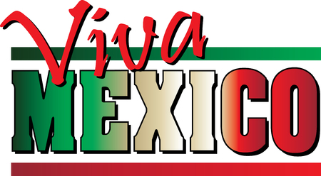 Viva Mexico banner with Mexican flag colors. Illustration