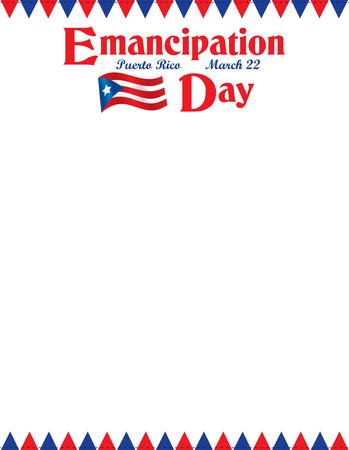 Puerto Rico Emancipation Day Letterhead Border with Flag