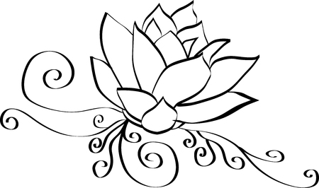 Elegant Lotus Flower Black and White Outline