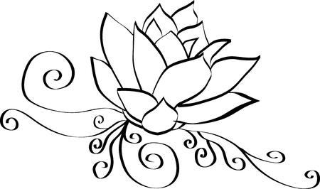 Elegant Lotus Flower Black and White Outline