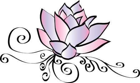 Elegant Pink Lotus Flower Drawing Ilustracja