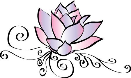 Elegant Pink Lotus Flower Drawing Vettoriali