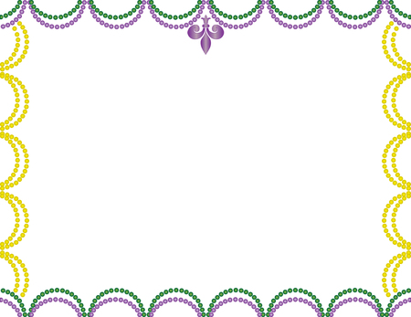 Mardi Gras beads border purple, green, and gold.