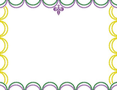 Mardi Gras beads border purple, green, and gold.
