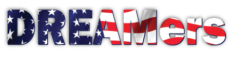 Icon of dreamers with American flag in text. Illustration