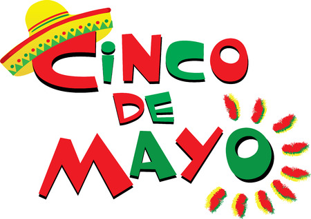 Cinco de Mayo Red and Green isolated on plain background.
