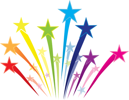Colorful Shooting Star Logo Çizim