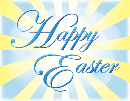 Happy Easter Banner with light radiating from words Illustration