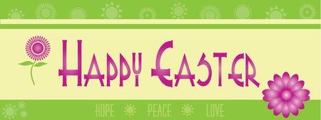 Happy Easter Banner with Flowers