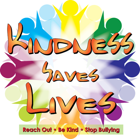 Kindness Saves Lives Logo isolated on colorful background.