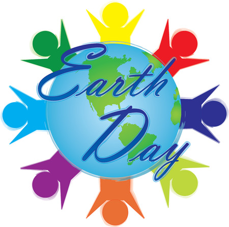 Earth Day Logo with People around world