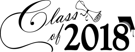 Black and White Class of 2018 Banner with diploma and cap