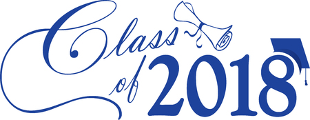 Blue Class of 2018 Banner with diploma and cap Иллюстрация