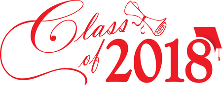 Red Class of 2018 Banner with diploma and cap
