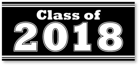 Black and White Class of 2018 Banner Illusztráció