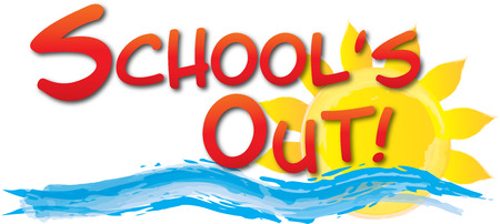 School's Out graphic with sun and waves