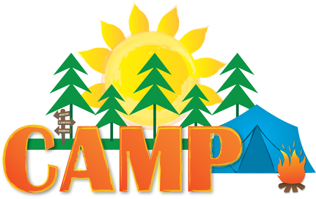 Camp Logo with Trees, Sun, Fire, and Tent Çizim